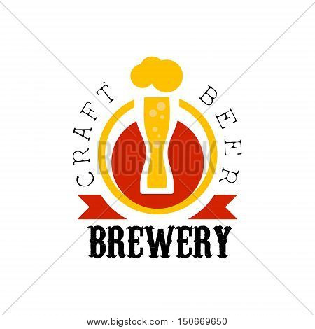 Craft Beer Brewery Logo Design Template. Black And Yellow Vector Label With Text And Establishment Date For Brewery Promotion.