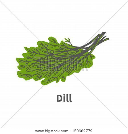 Vector illustration doodle sketch hand-drawn dill. Isolated on white background. The concept of harvesting. Vintage retro style. Plant tip of ripe green dill.