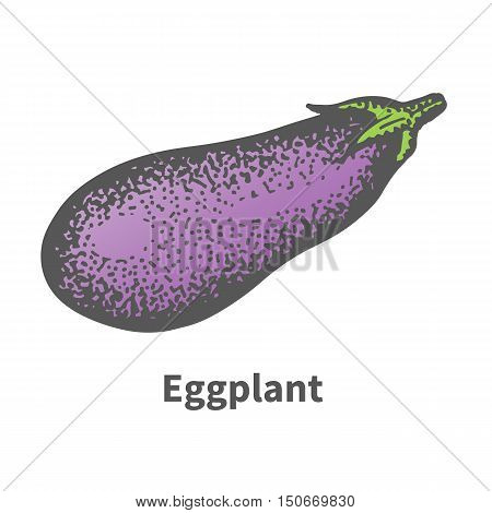 Vector illustration doodle sketch hand-drawn eggplant. Isolated on white background. The concept of harvesting. Vintage retro style. Mature big aubergine.