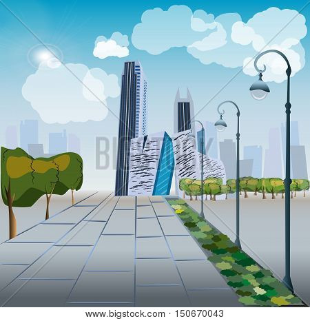 Modern City Megalopolis View Skyscraper Cityscape Vector Illustration.