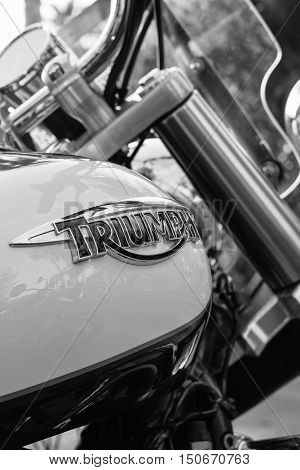 ALICANTE SPAIN - SEPTEMBER 25 2016: Detail of a gas tank of a Triumph motorbike on the Distinguished Gentleman's Ride day a global fundraiser for prostate cancer and men's health investigation