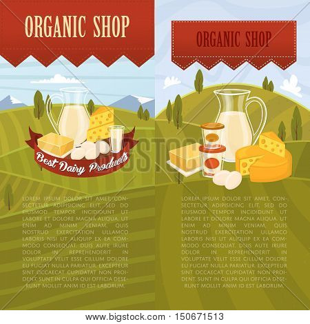 Farm products banner with dairy product on rustic background of green rural landscape vector illustration. Dairy farm food. Healthy nutritious food concept. Rustic dairy food. Organic product. Dairy concept. Milk product.