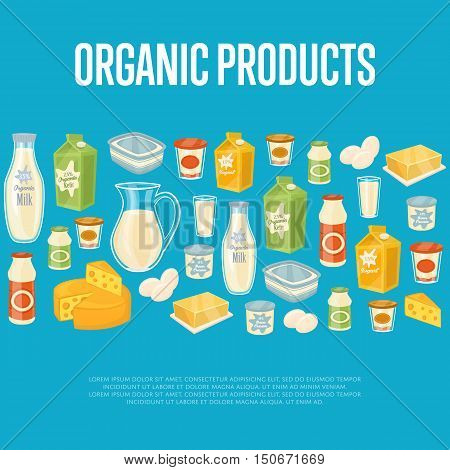 Organic products banner with dairy assortment icons on blue background, vector illustration. Nutritious and healthy products. Organic farming. Natural and tasty food. Dairy icons set