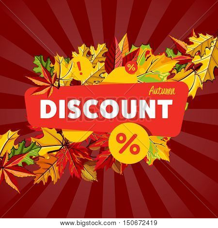 Autumn seasonal sale design template, vector illustration. Autumn discount banner with colorful leaves on striped red background. Advertisement about autumnal discount. Incredible sale proposition