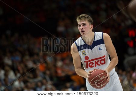 VALENCIA, SPAIN - OCTOBER 6th: Doncic during spanish league match between Valencia Basket and Real Madrid at Fonteta Stadium on October 6, 2016 in Valencia, Spain