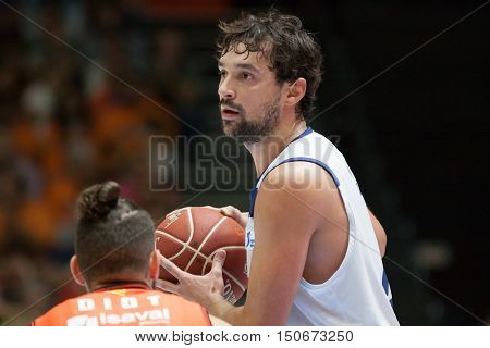 VALENCIA, SPAIN - OCTOBER 6th: Llull during spanish league match between Valencia Basket and Real Madrid at Fonteta Stadium on October 6, 2016 in Valencia, Spain