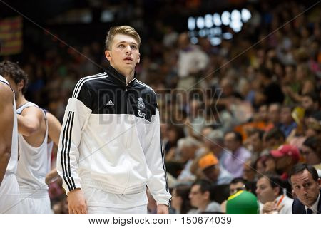 VALENCIA, SPAIN - OCTOBER 6th: Luka Doncic during spanish league match between Valencia Basket and Real Madrid at Fonteta Stadium on October 6, 2016 in Valencia, Spain