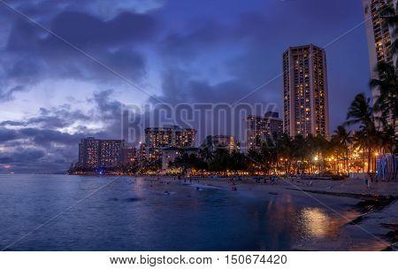 HONOLULU, USA - AUG 8:  Waikiki beach in Honolulu on August 8, 2016 in Honolulu, Usa. Waikiki beach is neighborhood of Honolulu, best known for white sand and surfing.
