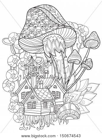 Hand drawn doodle outline magic mushrooms decorated with floral ornaments.Vector zen art illustration.Floral ornament.Sketch for tattoo, poster, children or adult coloring relax anti sress pages.Boho style.