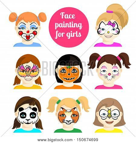 Face painting icons. Kids faces with animals painting. Vector illustration. Set of face painting for boys and girls. Flat style cartoon vector illustration isolated on white. Cartoon characters.