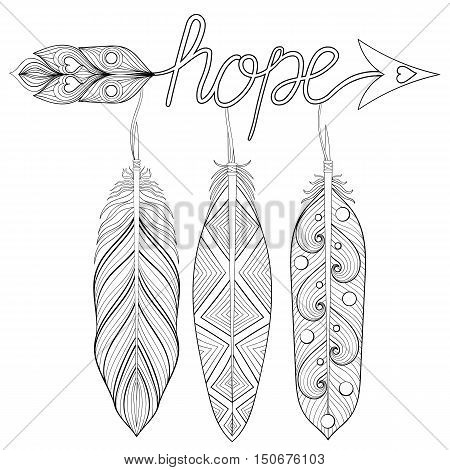 Bohemian Arrow, Hand drawn Amulet with letters Hope, with feather. Decorative Arrows for adult coloring pages, ethnic patterned t-shirt print. Boho chic style. Doodle Illustration, tattoo design.