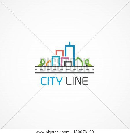 High-rise house on property logo, all editable vector.