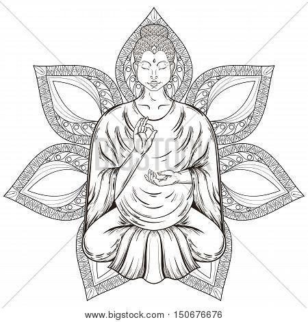 Vector Sitting Buddha in Lotus pose, isolated on mandala, teaching Buddhism, tattoo art, religion t-shirt print. Monochrome vintage hand drawn illustration.  Spiritual, yoga motifs, symbol of Tibet, Asia.