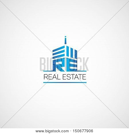 Logo for real estate agency in the flat style.