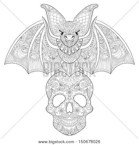 Zentangle stylized Bat seating on sugar Skull for Halloween. Freehand sketch for adult anti stress coloring page with doodle elements. Artistic ethnic black vector illustration for  t-shirt print