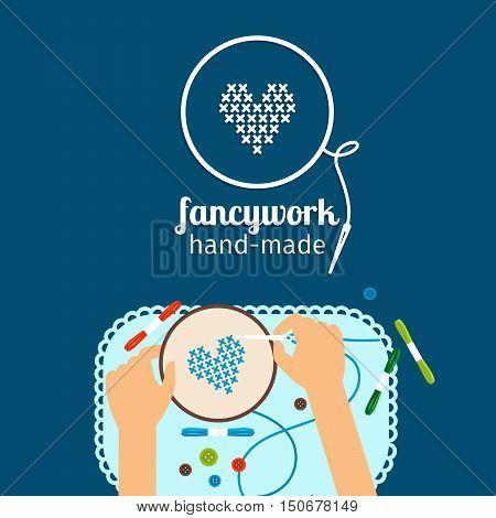 Kids handmade vector illustration. Fancywork and cross stich icon