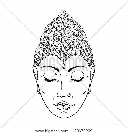 Vector zentangle Portrait of Buddha for ornamental adult coloring pages, Buddhism tattoo art, ethnic patterned t-shirt print. Monochrome hand drawn religion illustration in doodle style.