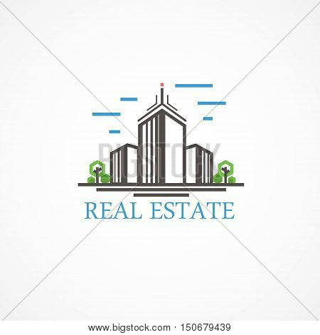 High-rise house on property vector, all editable.