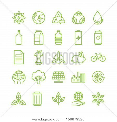 Vector Set Of Linear Icons - Recycle And Ecology Theme