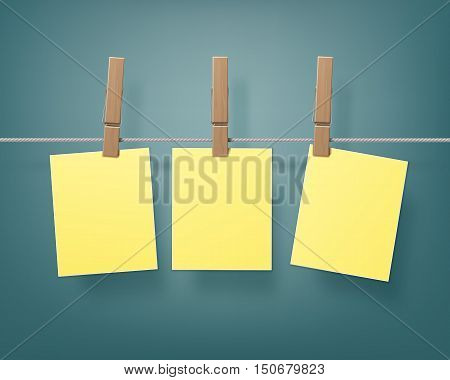 Vector Set of Wooden Clothespins Pegs whith hanged Yellow Stickers on Rope  Close up Isolated on Background