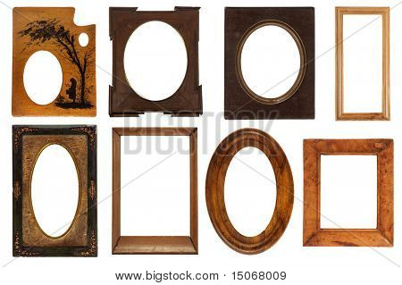 different vintage frames isolated on white background with clipping path