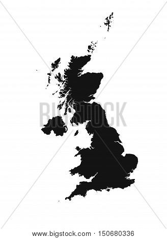 Detailed isolated map of United Kingdom, black and white. Mercator Projection.