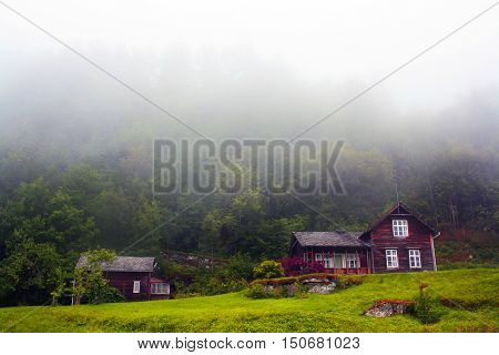 House in mountine. House in forest. Lofthus, Norway