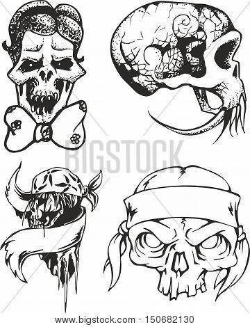 Set of fantasy tribal tattoo sketches with human skulls - joker monster pirate and ninja