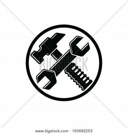 Detailed vector illustration of hammer and wrench crossed work tools. Industry utensil symbol mallet and spanner placed in a circle for use in advertising and web design.