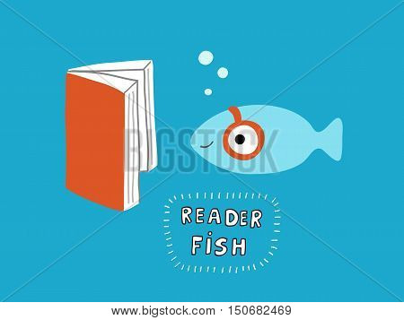 Reader fish with a book, vector illustration