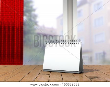 White loose-leaf calendar mock up in front of blurred background. Table tent on wooden table in blurred room mock up. 3d illustration of blank desk calendar selective focus.