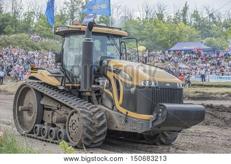Rostov-on-Don Russia- June 05 2016: Powerful agricultural crawler tractor on Bizon Track Show