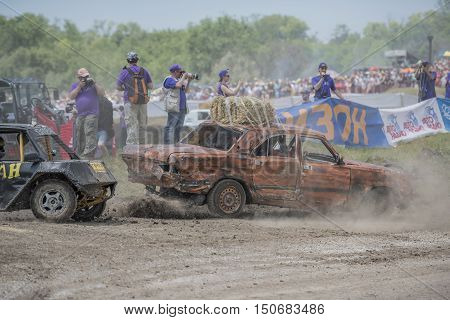Rostov-on-Don Russia- June 052016: Car Race for survival on the Bizon Track Show.Press pictures of the race