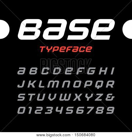 Rounded Italic Sport Font. Vector Alphabet With Latin Letters And Numbers.