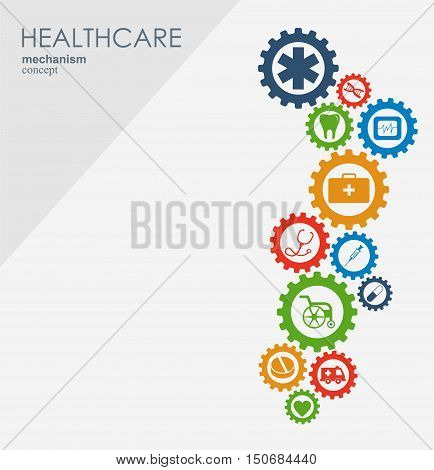Healthcare mechanism concept. Abstract background with connected gears and icons for medical, strategy, health, care, medicine, network, social media and global concepts. Vector infographic