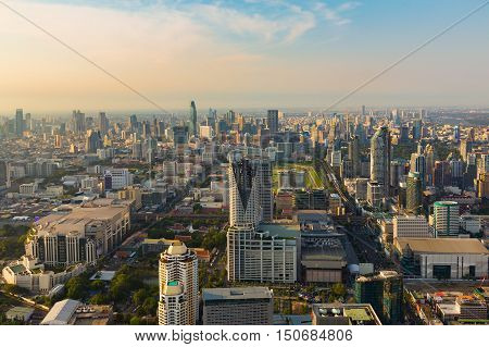 Aerial view Bangkok skyline city business downtown, Thailand