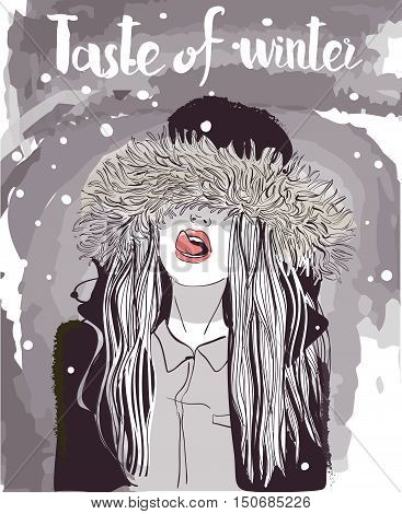 vector young winter woman portrait in fur jacket