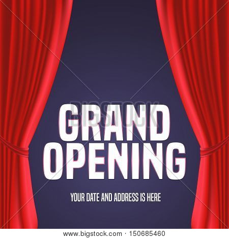 Grand opening vector banner, illustration. Template festive design element with red curtain, sign for opening ceremony
