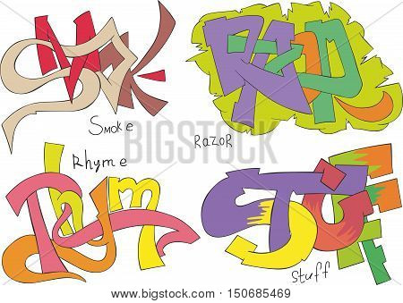 Set of four graffiti sketches - smoke razor rhyme and stuff poster