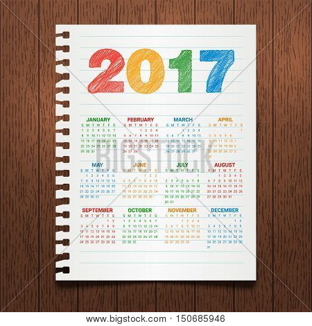Calendar for 2017 Year on a dark wooden background. Hand drawn colorful text. Modern Creative Vector Design Print Template. Holiday vector illustration. Notebook paper. Corporate business layout.