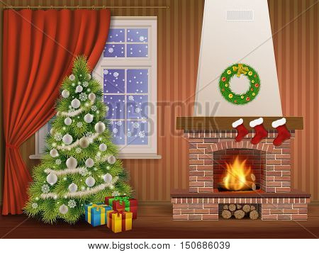 Christmas interior with fireplace and pine tree decorated christmas balls and wreath. Vector illustration.