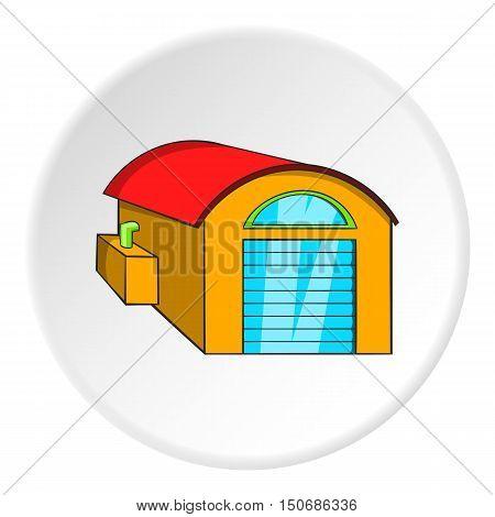 Warehouse icon in cartoon style isolated on white circle background. Storage symbol vector illustration