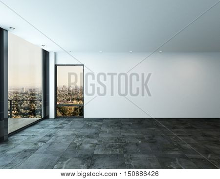 Spacious bare unfurnished luxury living room interior with stone tiled floor view windows and a glass door to an exterior patio overlooking a city, 3d rendering