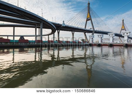 Twin suspension bridge riverfront over watergate, Bangkok Thailand
