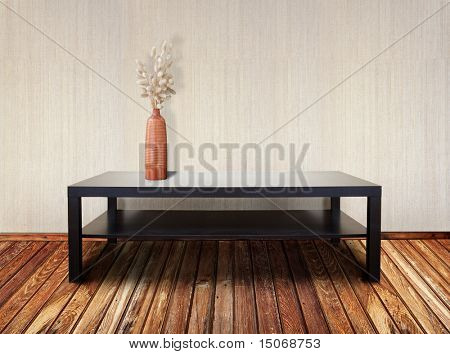 interior with brown table and ikebana
