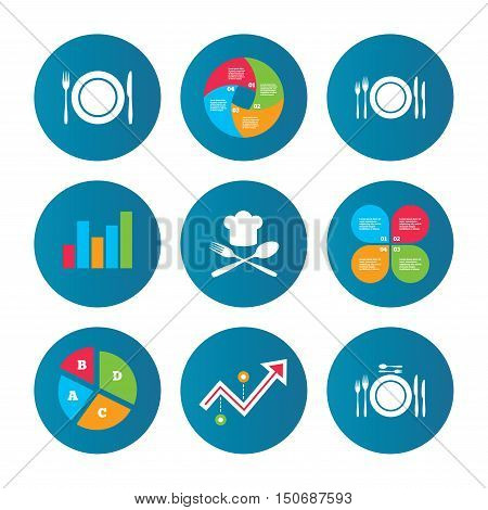 Business pie chart. Growth curve. Presentation buttons. Plate dish with forks and knifes icons. Chief hat sign. Crosswise cutlery symbol. Dining etiquette. Data analysis. Vector