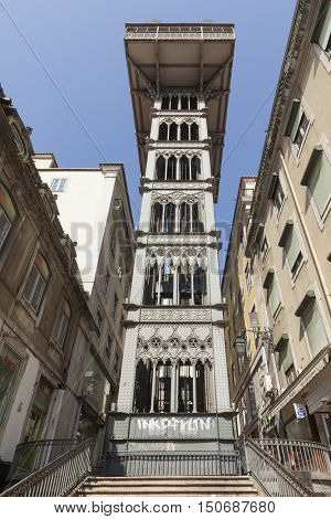 Lisbon, Portugal -  July 1, 2013: Santa Justa Lift,  elevator in the historical city. View from the lower entrance at Baixa quarter.