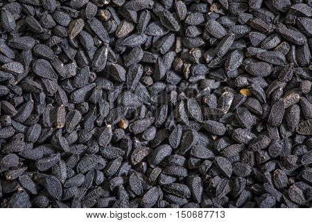 black cumin seeds (Nigella sativa) - closeup background