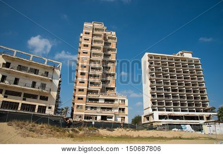 Palm Beach and with abandoned hotels at Varosha ghost town Famagusta Northern Cyprus