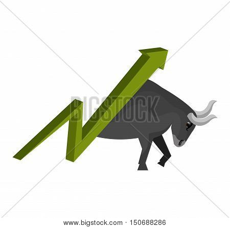 stock exchange  finance green arrow up and bull. vector illustration